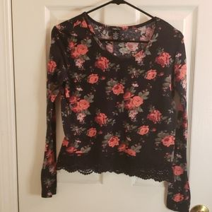 Rue21 Floral Print Lace Long Sleeve Top Small